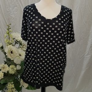 Black with white Bows and Unfinished hem